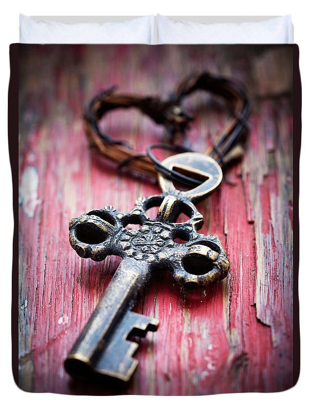 Aged Duvet Cover featuring the photograph Old Key by Kati Finell