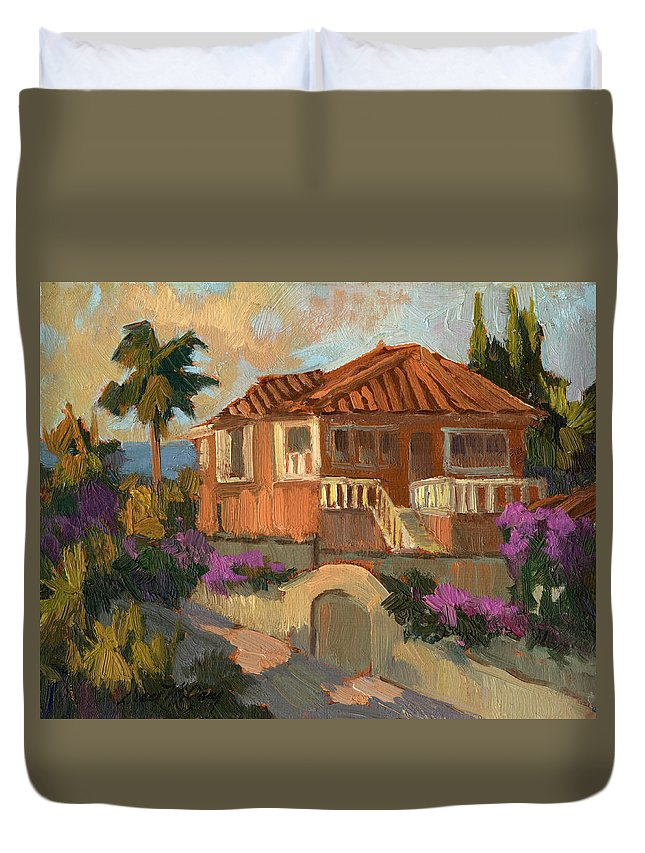 Old Mansion Duvet Cover featuring the painting Old Mansion Costa Del Sol by Diane McClary