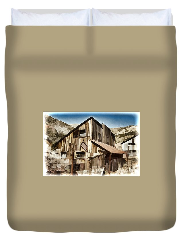Mine Duvet Cover featuring the photograph Old Mine Shack by Jon Berghoff