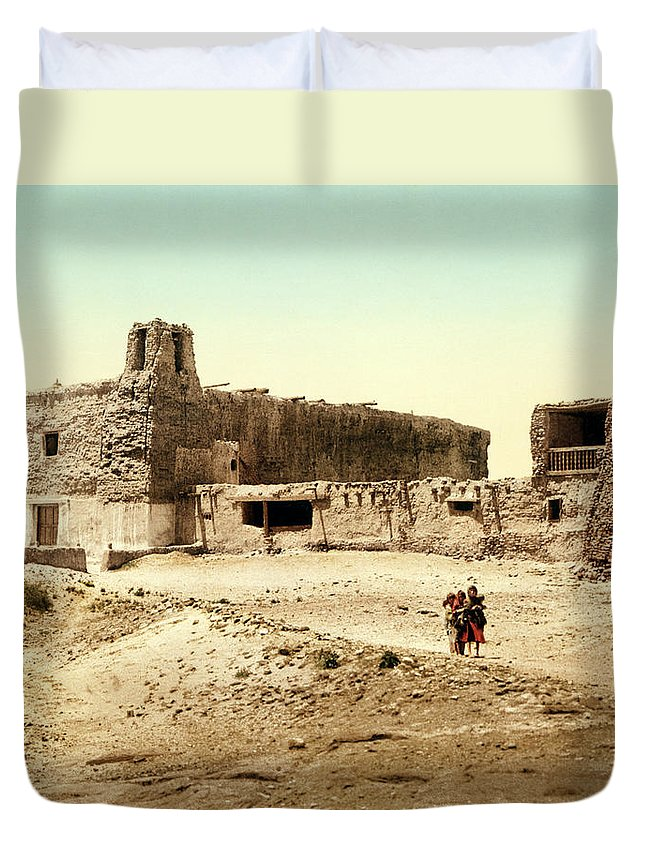 1900s Duvet Cover featuring the photograph Old Mission Church At Acoma by William Henry Jackson