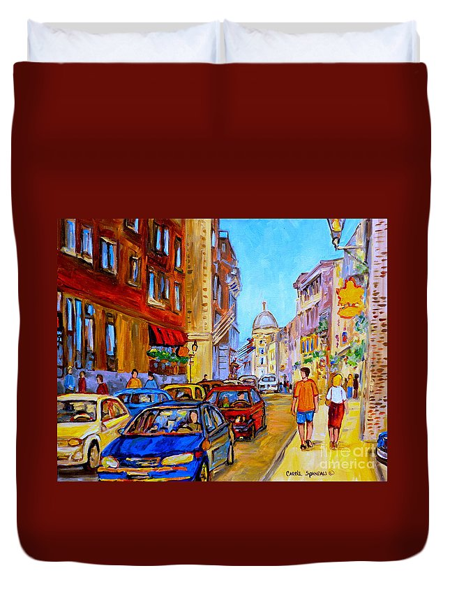 Old Montreal Street Scenes Duvet Cover featuring the painting Old Montreal by Carole Spandau