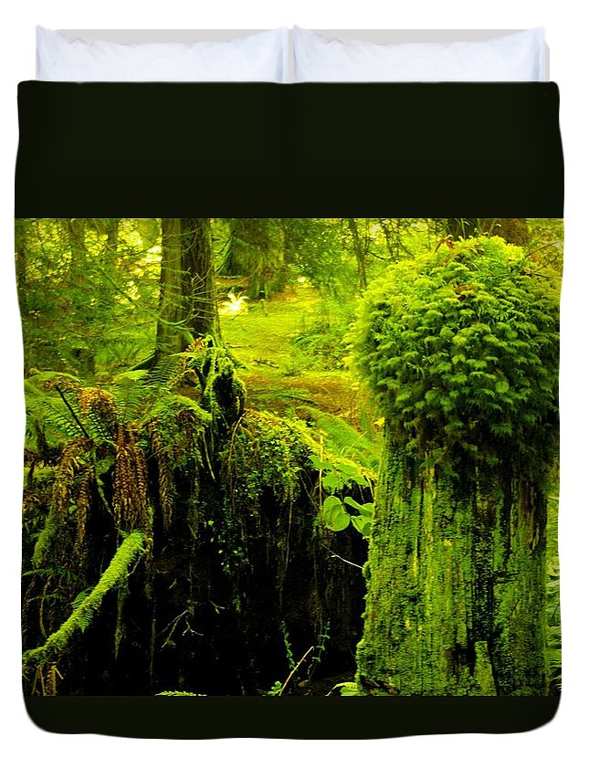 Moss Duvet Cover featuring the photograph Old Mossy Stump by John Greaves