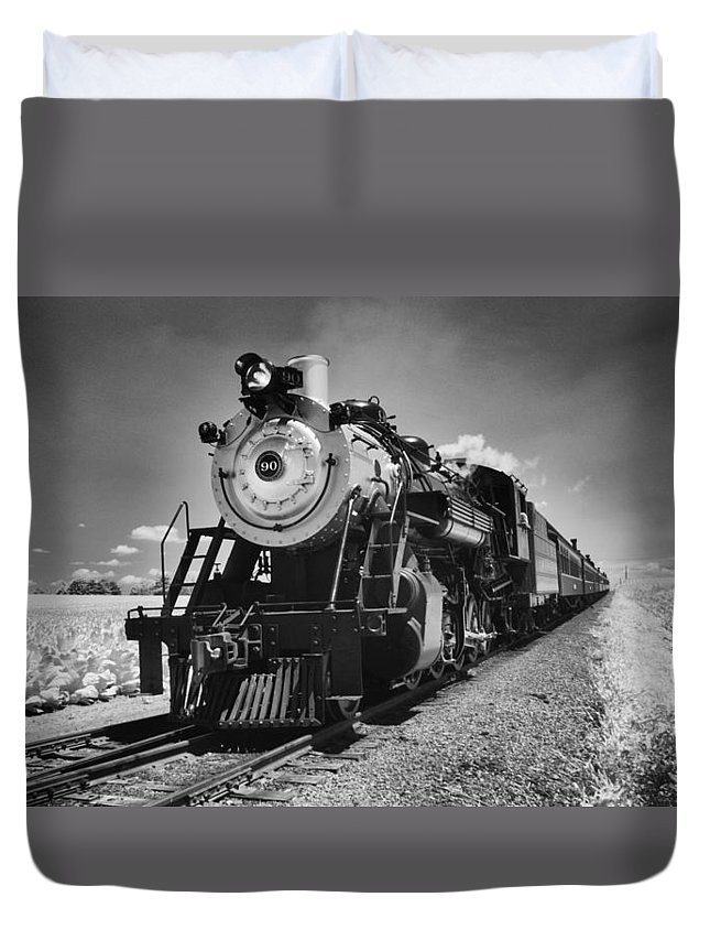Railroad Duvet Cover featuring the photograph Old Number 90 Coming Home by Paul W Faust - Impressions of Light