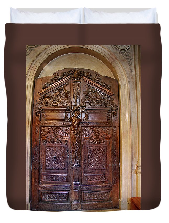 Door Duvet Cover featuring the photograph Old Ornamented Door by Christiane Schulze Art And Photography