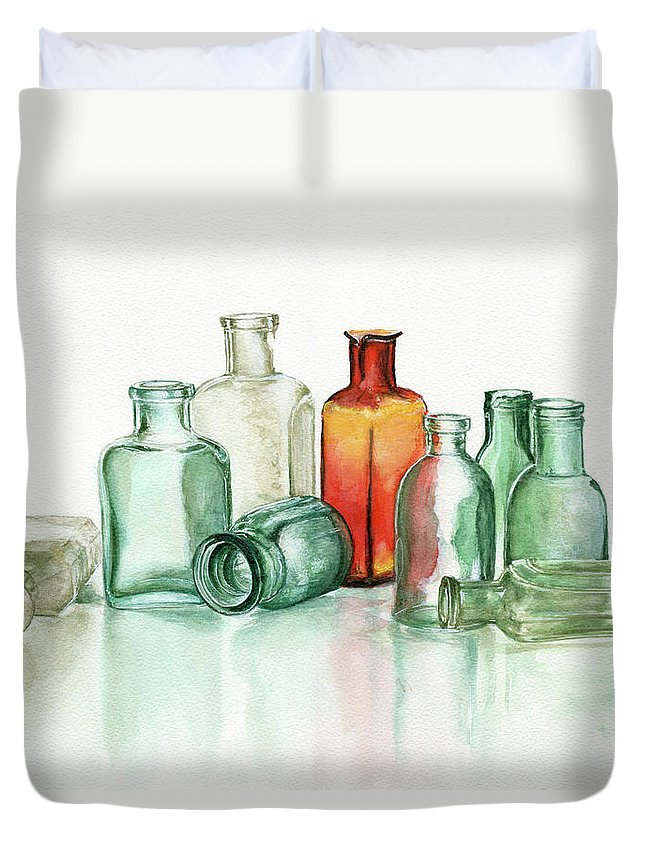 Material Duvet Cover featuring the photograph Old Pharmacys Glassware by Sergey Ryumin