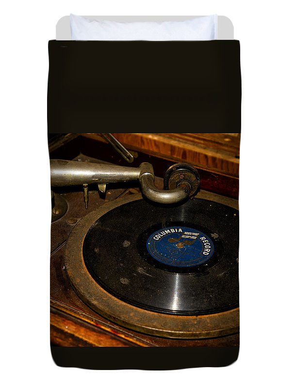 Vinyl Duvet Cover featuring the photograph Old Phonograph by Les Palenik