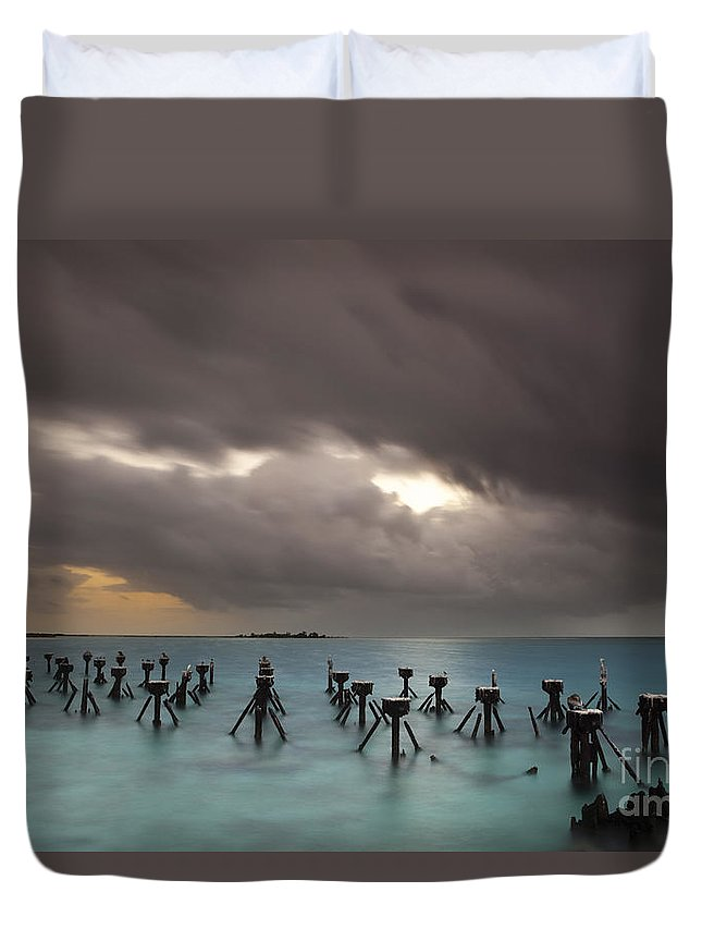 Tranquil Scene Duvet Cover featuring the photograph Old Pier In The Florida Keys by Keith Kapple