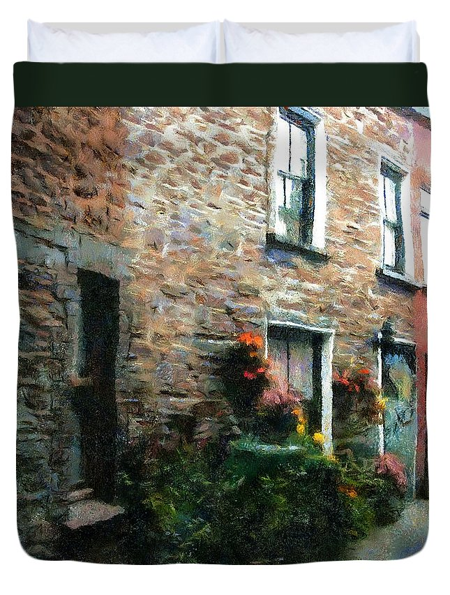 Doors Duvet Cover featuring the painting Old Pinchpenny Lane by RC DeWinter