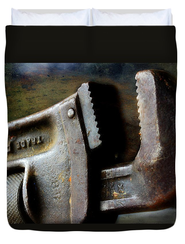 Pipe Wrench Duvet Cover featuring the photograph Old Pipe Wrench by Michael Eingle