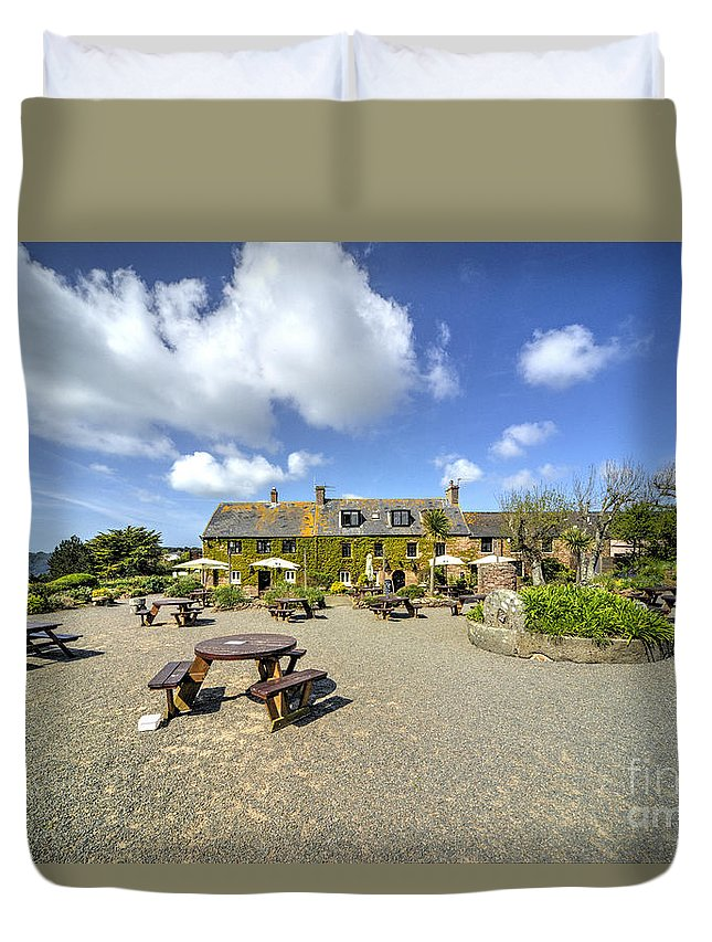 Old Duvet Cover featuring the photograph Old Portelet Inn by Rob Hawkins