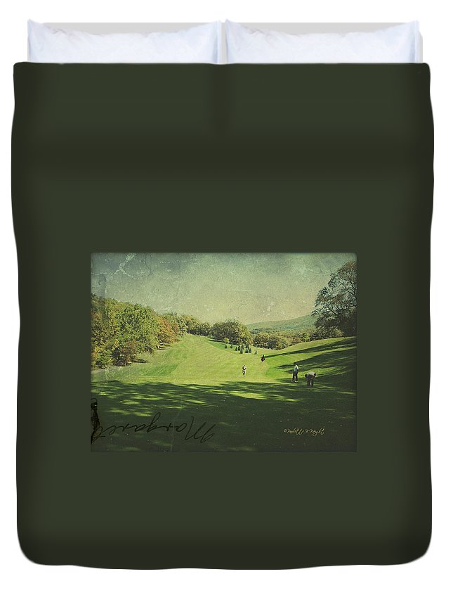 Art Duvet Cover featuring the photograph Old Postcard Of Golf Buddies At The Homestead by Paulette B Wright