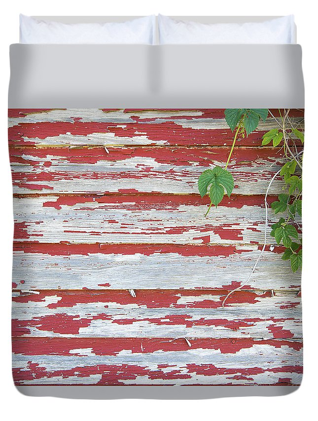 Old Duvet Cover featuring the photograph Old Red Barn With Peeling Paint And Vines by Jit Lim