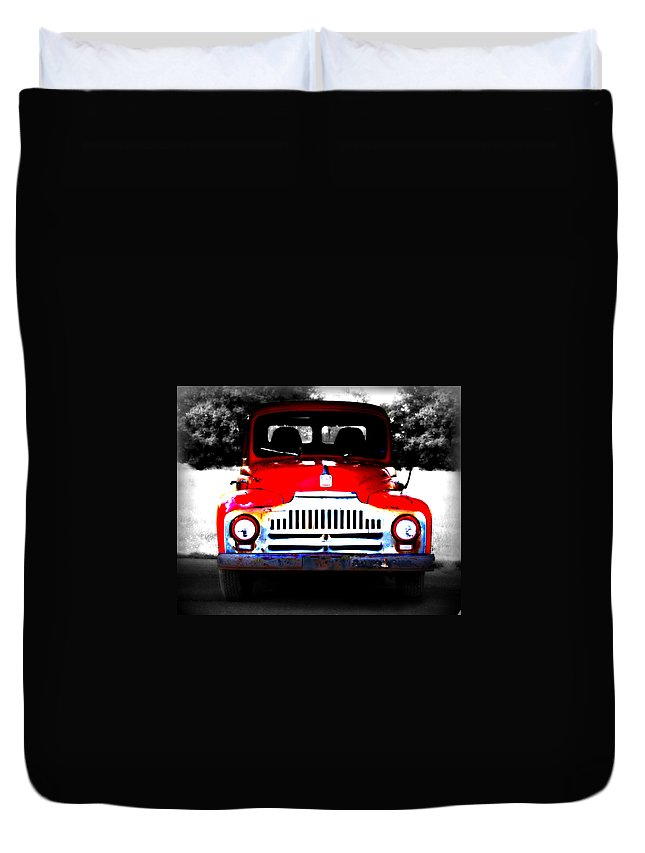 Old Duvet Cover featuring the photograph Old Red Truck by Tina Meador