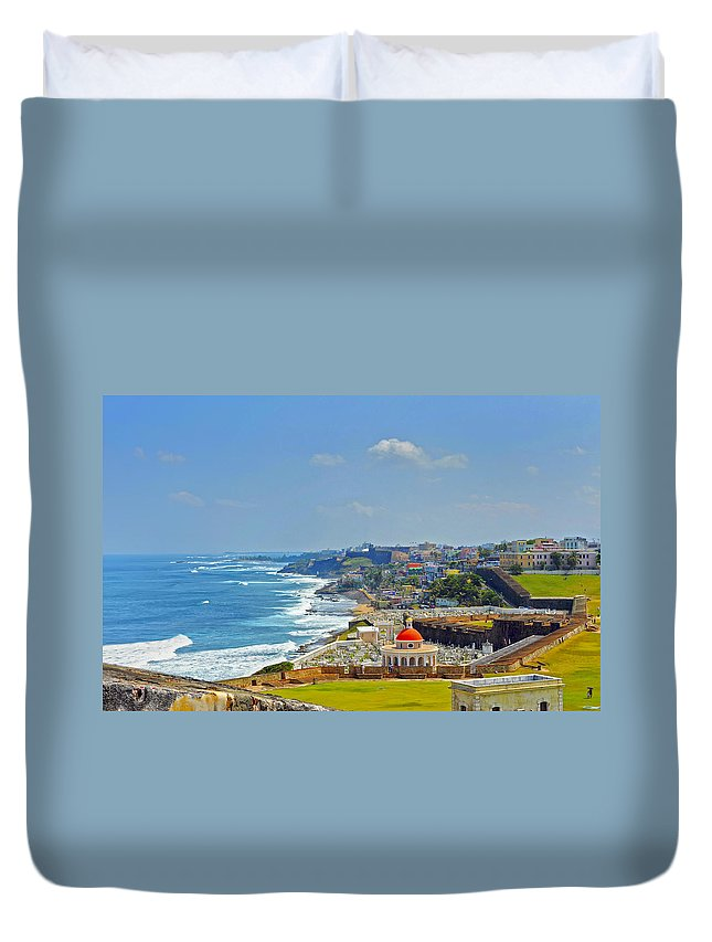Ocean Duvet Cover featuring the photograph Old San Juan Coastline 2 by Stephen Anderson