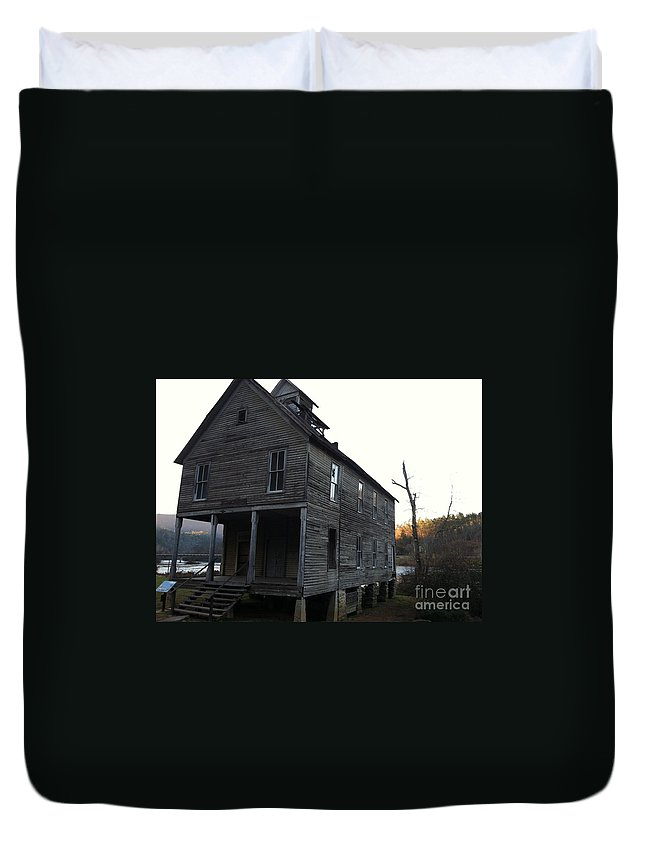 Old School House Duvet Cover featuring the photograph Old School House by Keri West