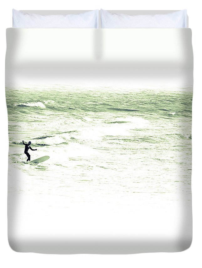 Marine Duvet Cover featuring the photograph Old School Longboard Lone Surfer by Gray Artus
