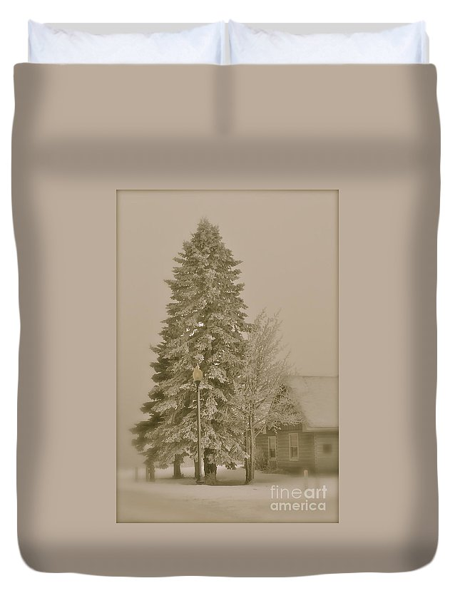 Winter Duvet Cover featuring the photograph Old School Winter by Rick Monyahan