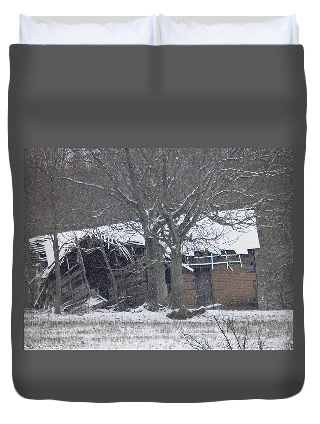 Snow Duvet Cover featuring the photograph Old Snowy House by Nick Kirby