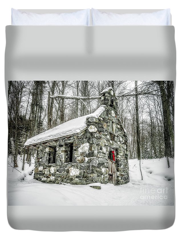 Stowe Duvet Cover featuring the photograph Old Stone Chapel Stowe Vermont by Edward Fielding