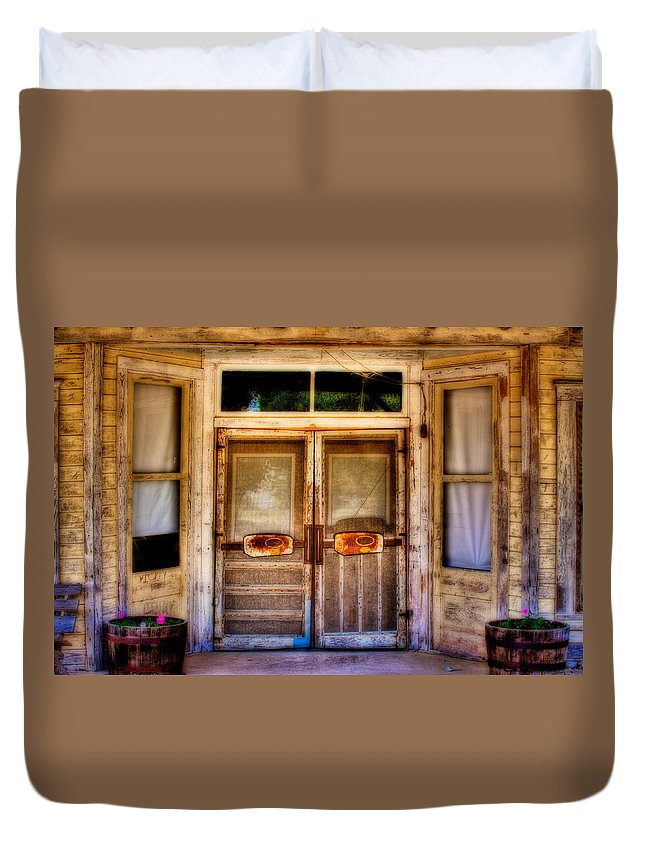 Store Duvet Cover featuring the photograph Old Store Front by David and Carol Kelly