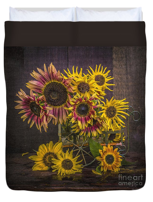 Van Duvet Cover featuring the photograph Old Sunflowers by Edward Fielding