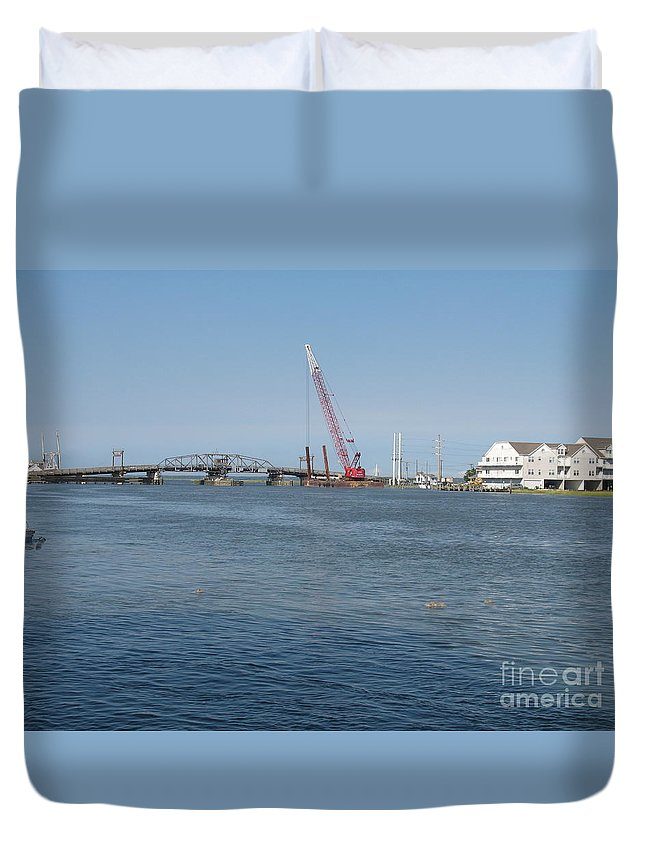 Sound Duvet Cover featuring the photograph Old Swing Bridge Chincoteague by Christiane Schulze Art And Photography