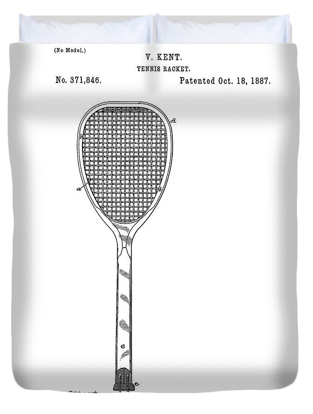 Tennis Racquet Sale >> Old Tennis Racket Patent Duvet Cover For Sale By Dan Sproul