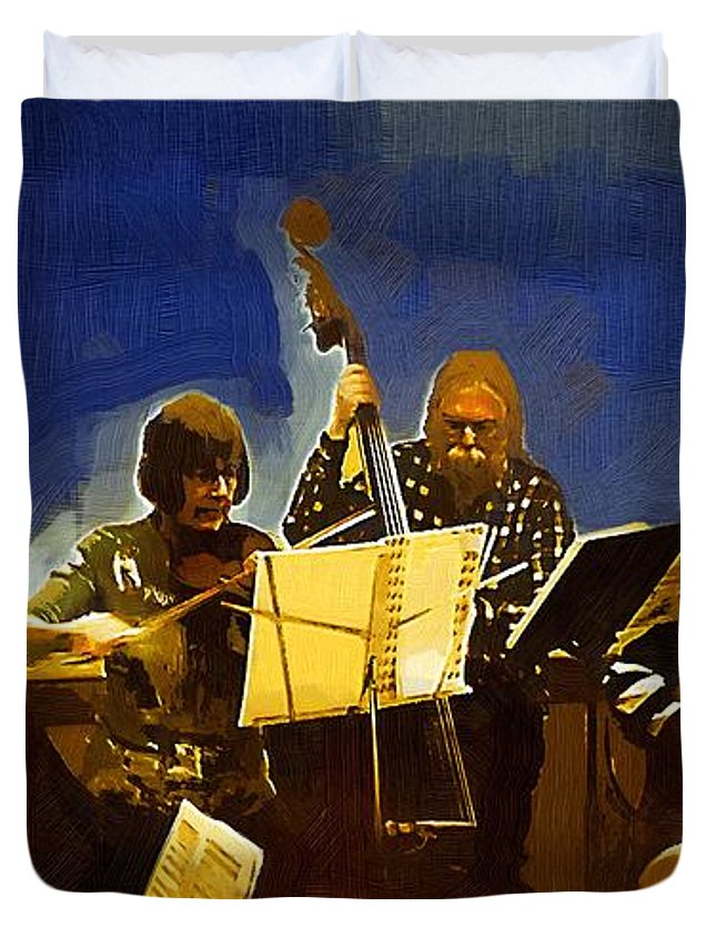 Musicians Duvet Cover featuring the painting Old Time Music by RC DeWinter