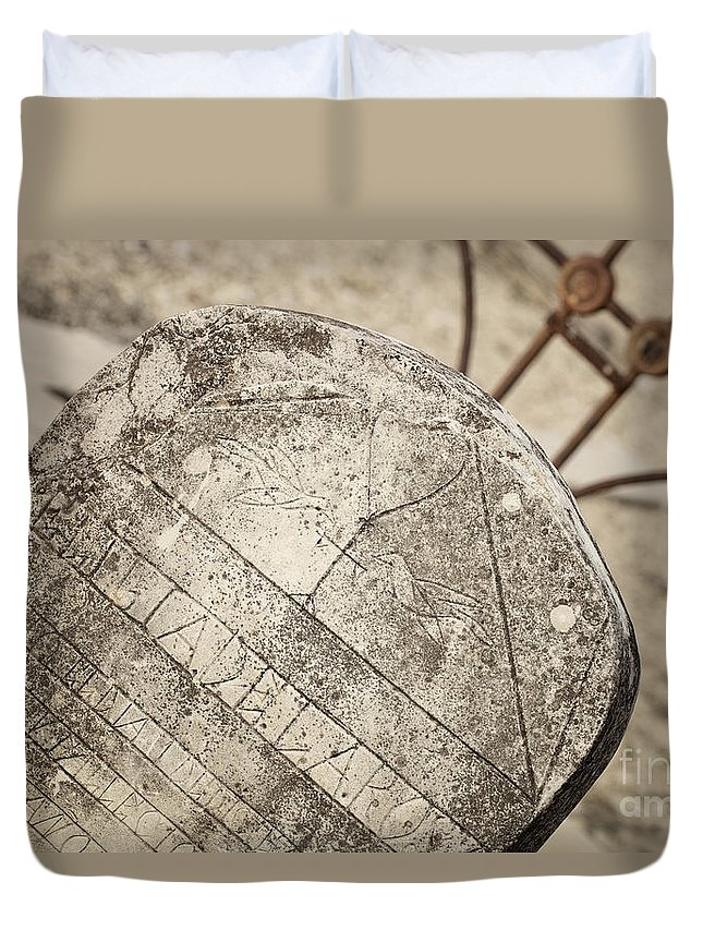 Cemetery Duvet Cover featuring the photograph Old Tombstone by Erika Weber