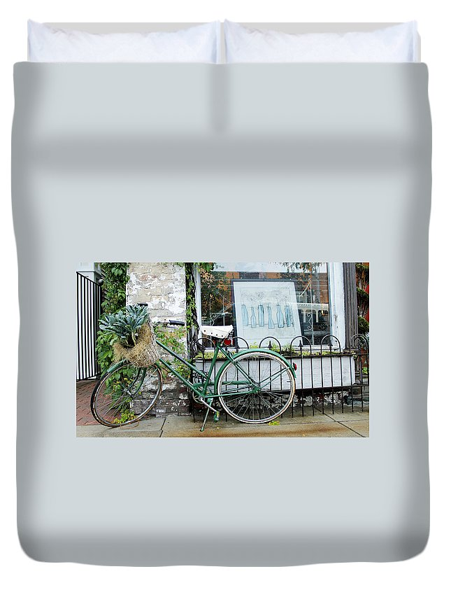 Bike Duvet Cover featuring the photograph Old Town Bike Stop by Danielle Allard