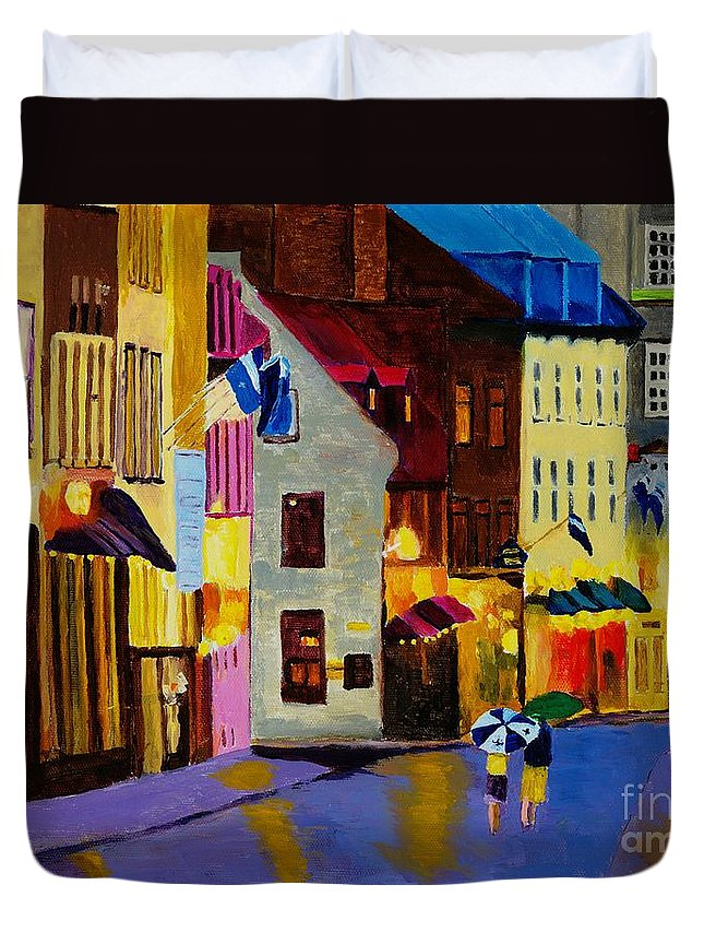 Quebec Duvet Cover featuring the painting Old Towne Quebec by Rodney Campbell