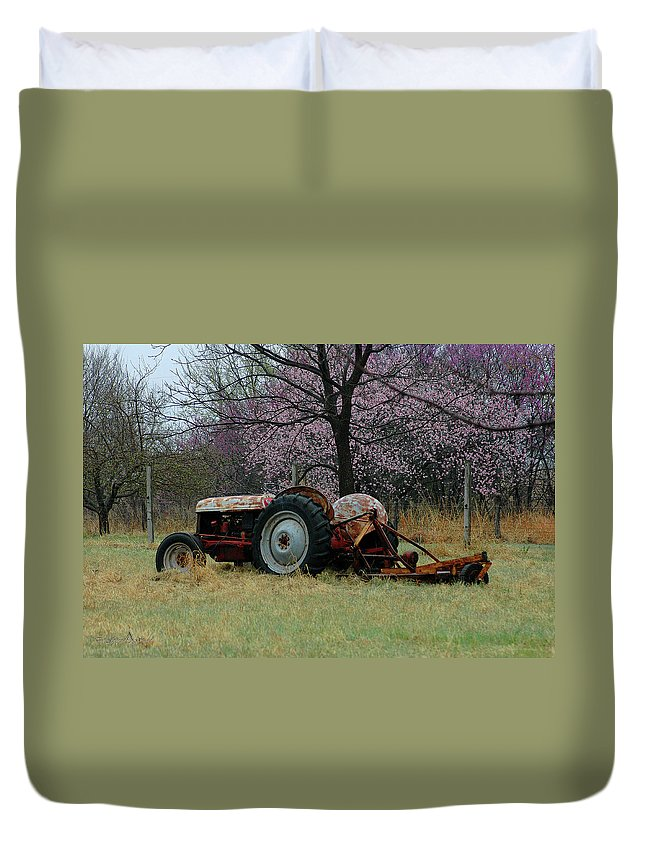 Tractor Duvet Cover featuring the photograph Old Tractor And Redbuds by Jill Westbrook