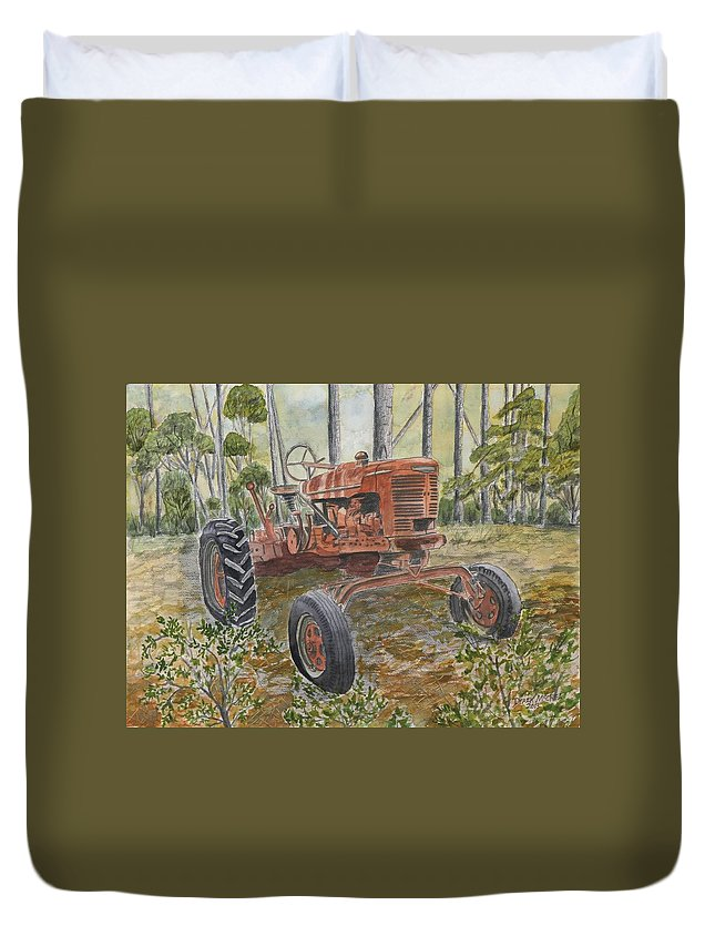 Old Duvet Cover featuring the painting Old Tractor Vintage Art by Derek Mccrea
