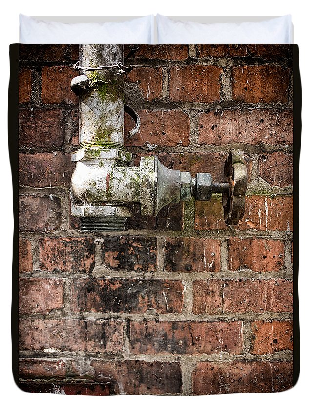 Urban Duvet Cover featuring the photograph Old Valve by Nigel R Bell