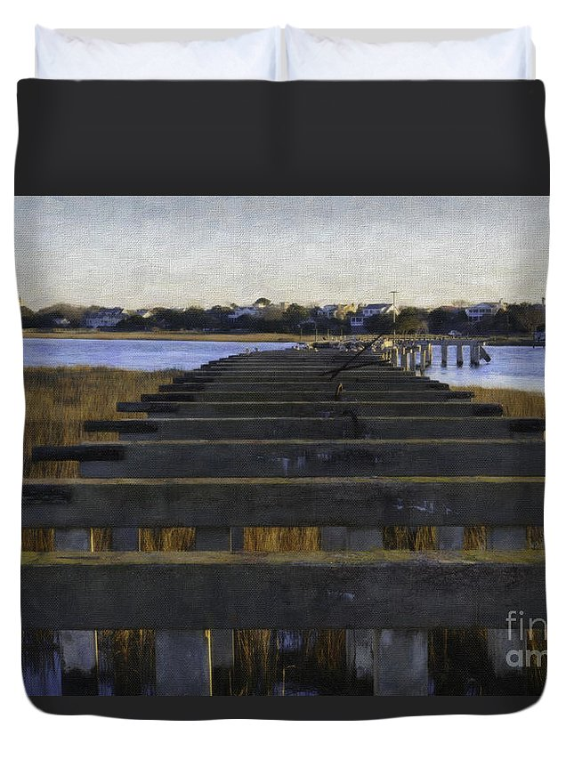 Old Pitt Street Bridge Duvet Cover featuring the photograph Old Village To Sullivan's Island by Dale Powell