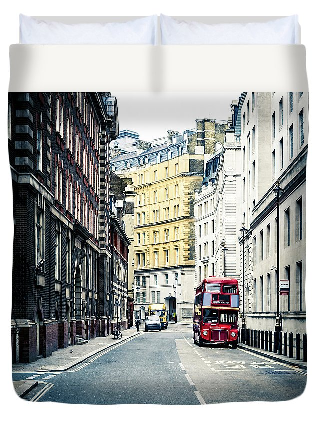 Downtown District Duvet Cover featuring the photograph Old Vintage Red Double Decker Bus In by Zodebala