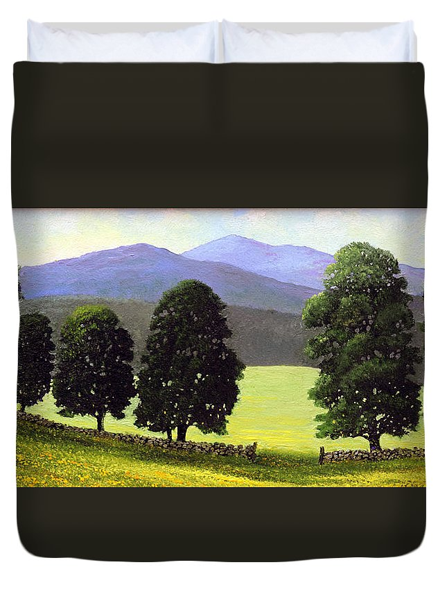 Landscape Duvet Cover featuring the painting Old Wall Old Maples by Frank Wilson