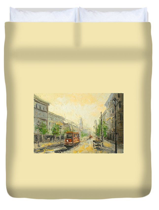 Poland Duvet Cover featuring the painting Old Warsaw - Poland by Luke Karcz