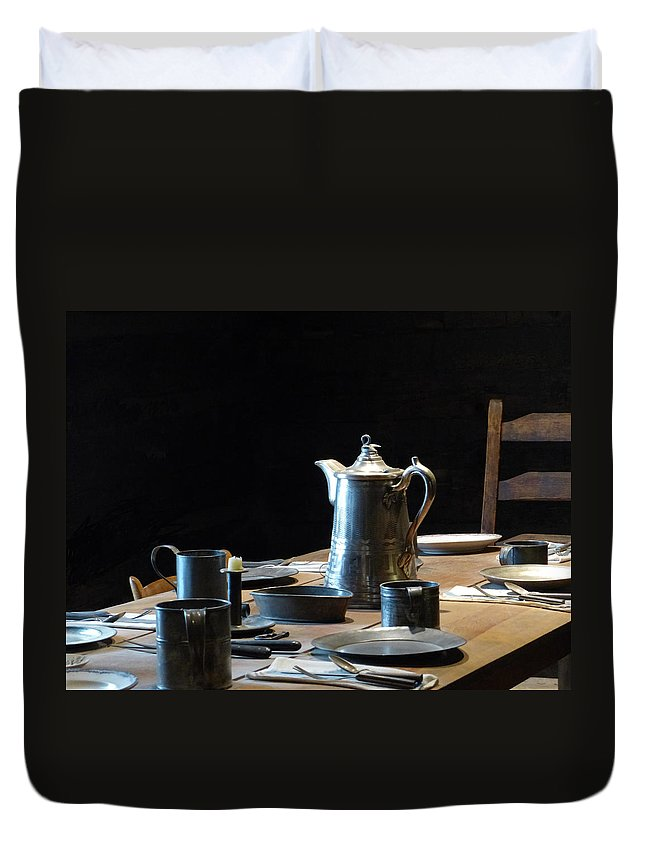 Old Duvet Cover featuring the photograph Old West Table Setting by Marcia Socolik