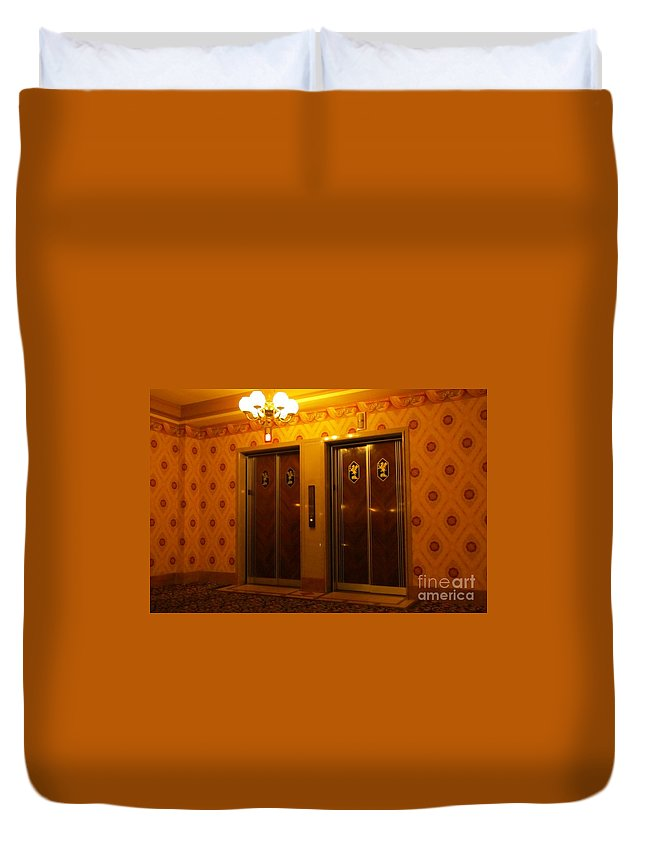 Old Elevators Duvet Cover featuring the photograph Old Westinghouse Elevators At The Brown Palace Hotel In Denver by John Malone