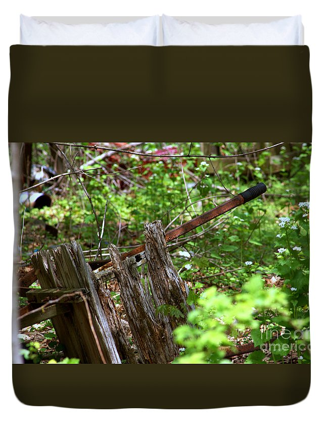 Rustic Duvet Cover featuring the photograph Old Wheelbarrow In The Weeds by Robin Lynne Schwind
