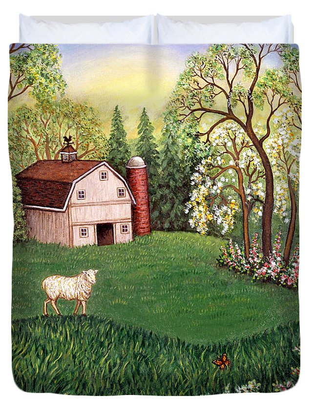Landscape Duvet Cover featuring the painting Old White Barn by Linda Mears