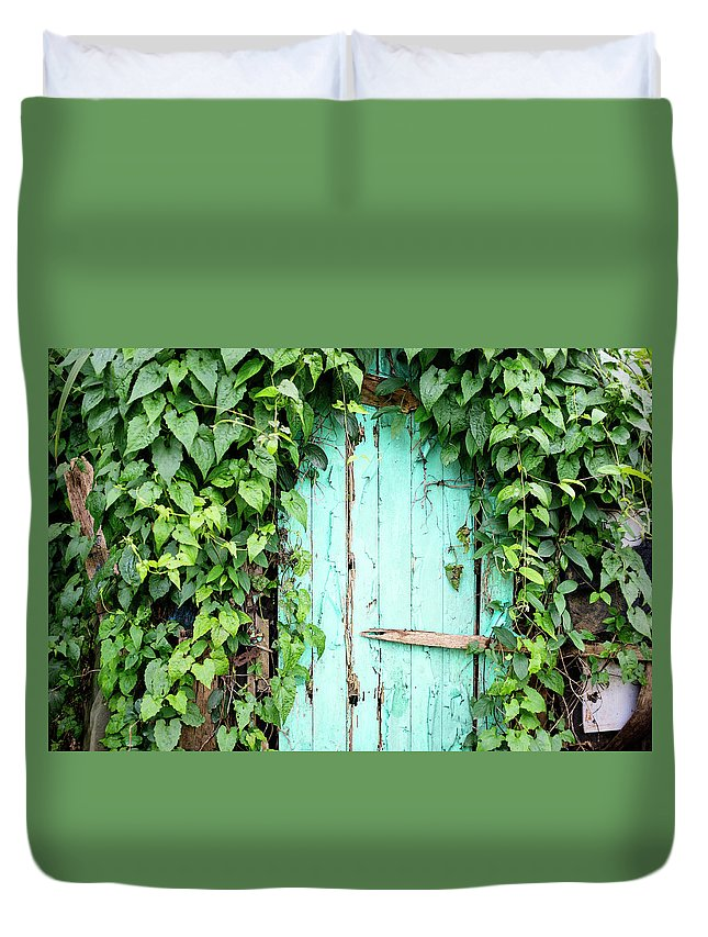Outdoors Duvet Cover featuring the photograph Old Wooden Door by Real444