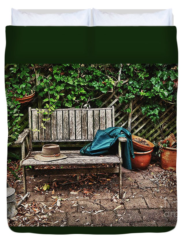 Wooden Bench Duvet Cover featuring the photograph Old Wooden Garden Bench by Sheila Smart Fine Art Photography