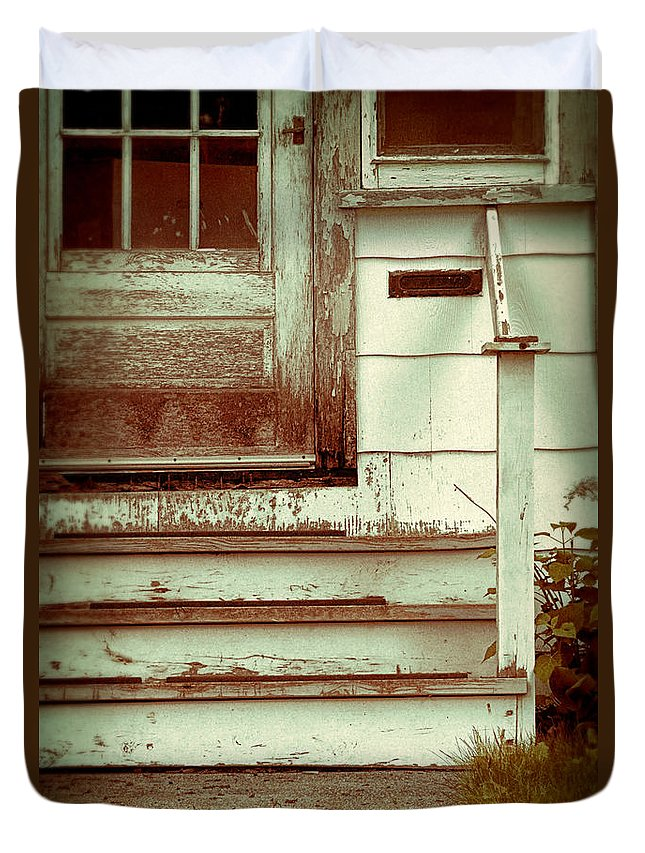 Old Duvet Cover featuring the photograph Old Wooden Porch by Jill Battaglia