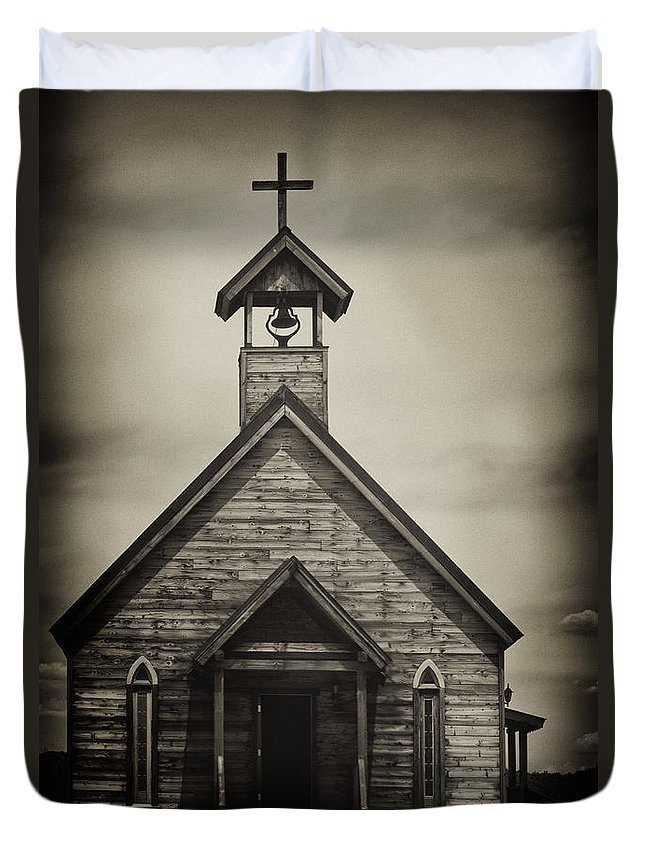 Building; Church; Wooden; Door; Steeple; Bell; Cross; Exterior; Religious; Sanctuary; Sepia; Old; Aged; Chapel; Doorway; Entrance; Facade; Wood; Religion Duvet Cover featuring the photograph Old Wooden Sanctuary by Margie Hurwich