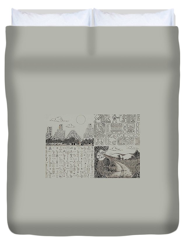 Pen And Ink Drawing Duvet Cover featuring the drawing Old World New World by Karen Buford