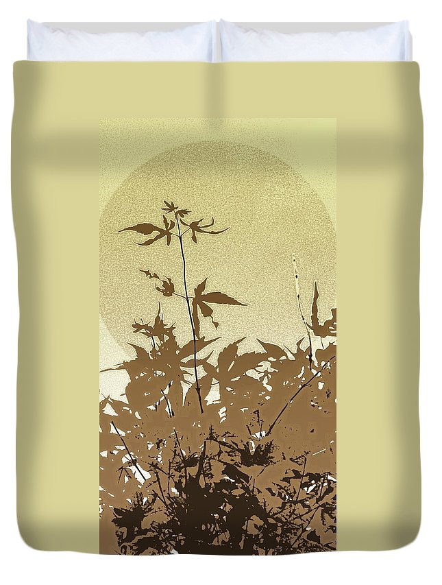 Leaves Duvet Cover featuring the photograph Olive And Brown Haiku by Kathy Barney
