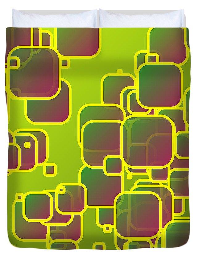 Squares Duvet Cover featuring the digital art Olive Green Squares by Gaspar Avila