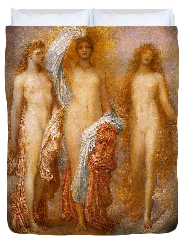 Nude Duvet Cover featuring the painting Olympus On Ida by George Frederic Watts